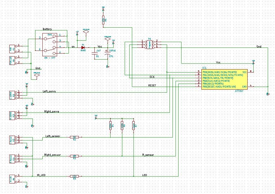 Ниже представлена схема контроллера и рисунок печатной платы изготовленной на одностороннем стеклотекстолите...