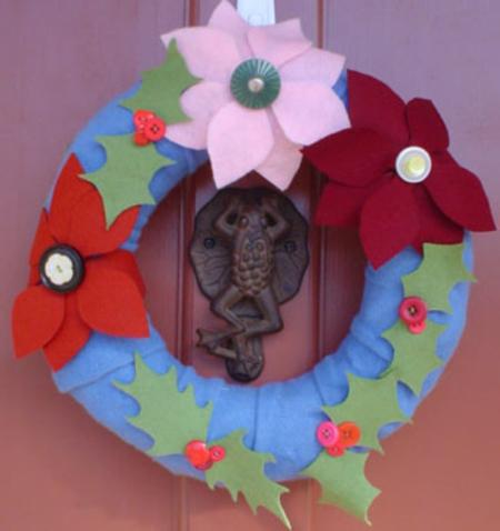 Pointsettia Holly Wreath