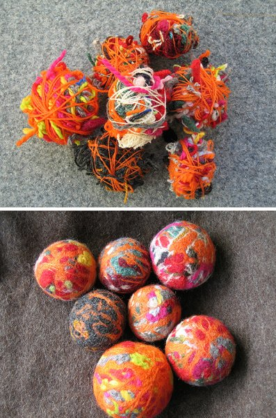 Felted wool balls make for Craft with woolen thread