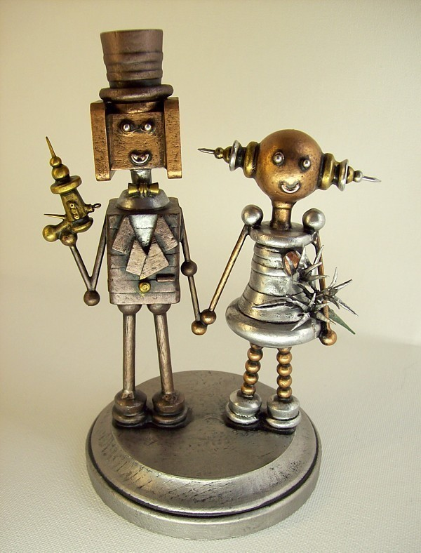 Robot bride and groom wedding cake topper make