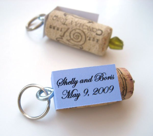 Recycled Wine Cork Keychain Favors