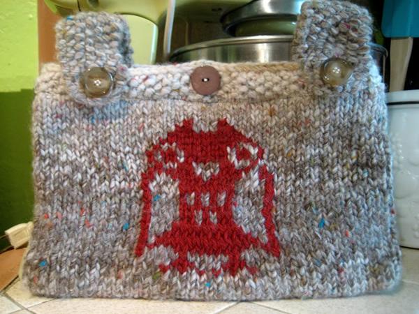 Owl Bag Knitting Pattern : How-To: Knit Owl Bicycle Handle Bag Make: