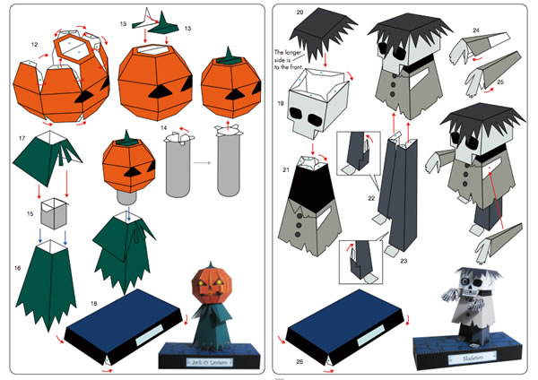 picture relating to Halloween Printable Crafts identified as Print And Fold Halloween Paper Crafts Deliver: