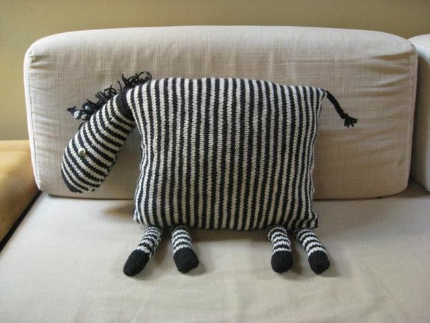 Animal Pillow Knitting Patterns : Knit Zebra Pillow Make: