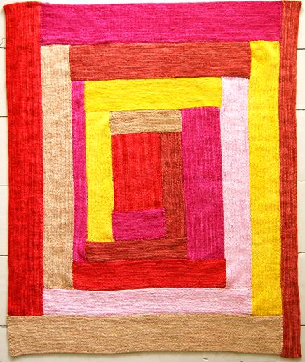 Knit log cabin baby blanket make for Log cabin blanket