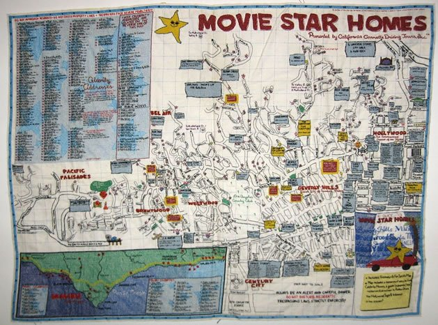 Embroidered map of the stars make for Movie star homes beverly hills