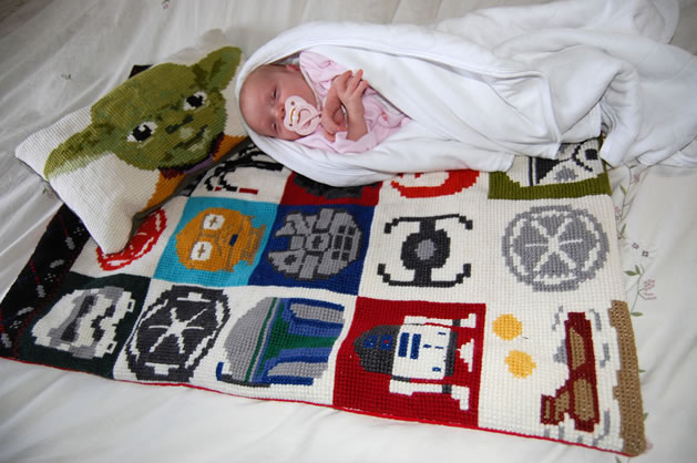 Star Wars Cross Stitch Baby Blanket And Pillow Gift Set