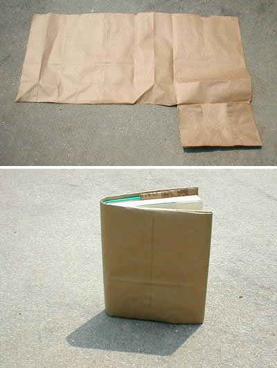 How To Make A Book Cover With A Paper Bag : How to cover a book with paper grocery bag make