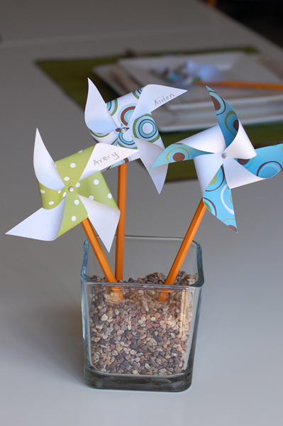 back to school  pinwheel pencil place card