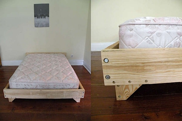 Nice diy bedframe design make diy projects how tos for Cheap ways to make a bed frame