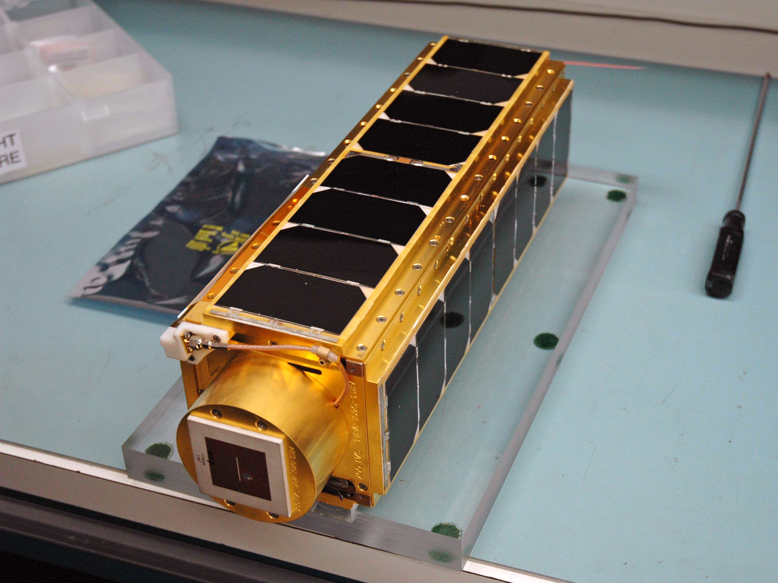 PharmaSat, developed by NASA Ames Research Center and launched in 2009, is a three-unit CubeSat to study antifungal drugs in microgravity.