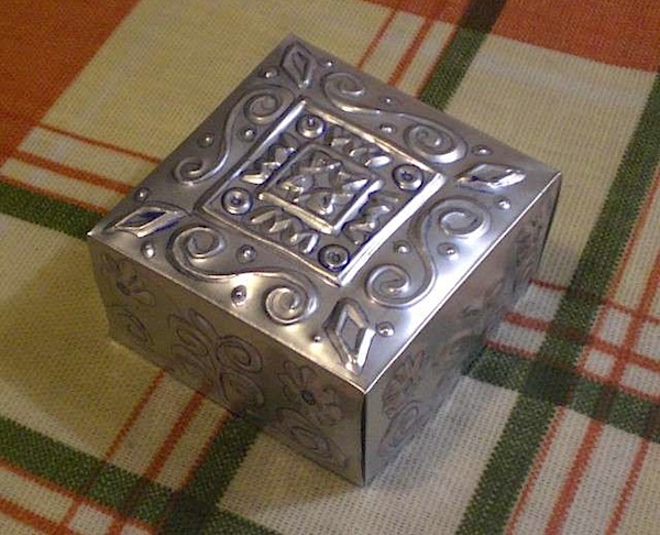 how to embossed metal box from beverage can make diy