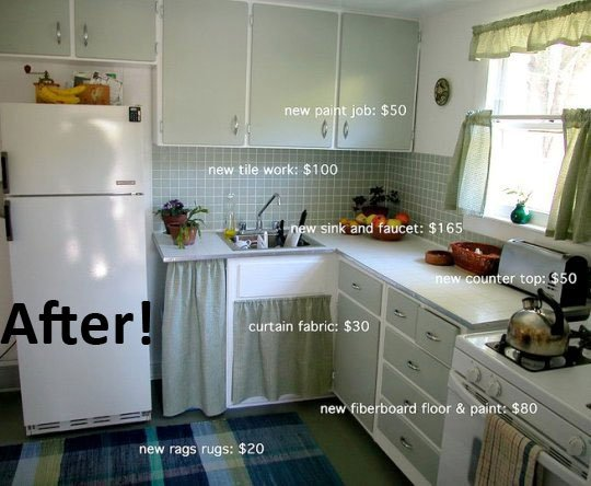Awesomely cheap kitchen makeover make for Cheap kitchen makeover