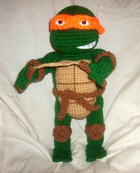 Teenage mutant ninja turtle crochet pattern make - Michaelangelo tortue ninja ...