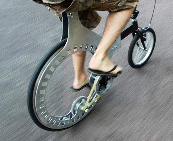 Belt-Driven, Hubless Rear Wheel Bicycle   Make: