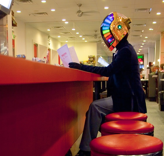 Daft Punk helmet at the coffeeshop