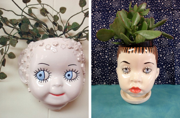 Antique Doll Head Planters Make