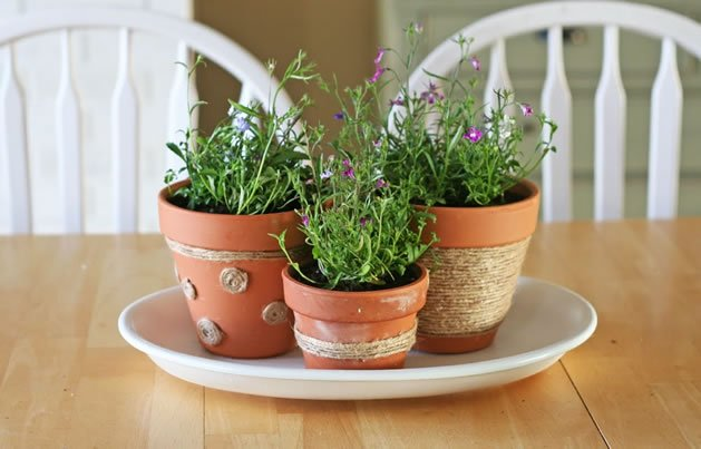 How to jute flower pot decorations make - Pot de decoration ...