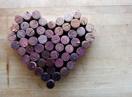Cork heart with wine stain color gradient make for Heart shaped bulletin board