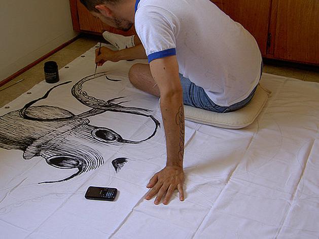 handpainted octopus shower curtain make. Black Bedroom Furniture Sets. Home Design Ideas