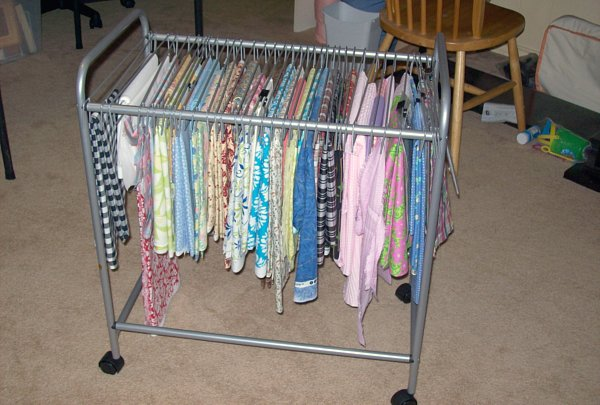 Using Pants Racks To Organize Fabric Make