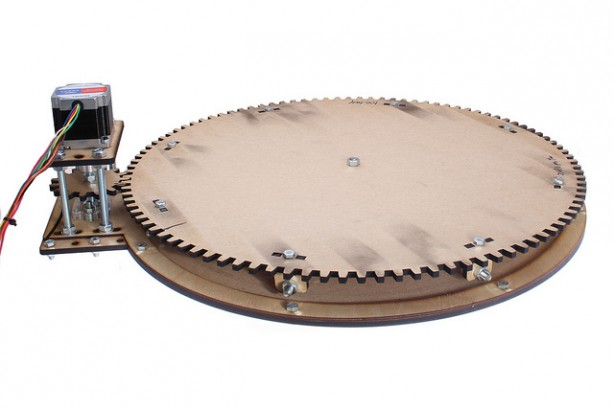 lasercut motorized turntable for 360 degree object