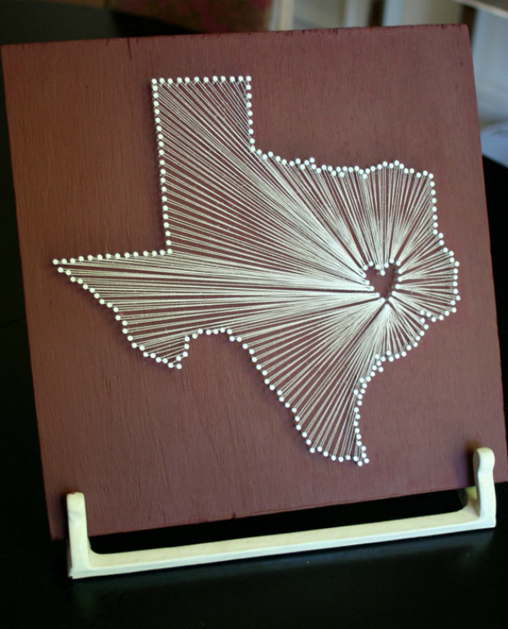 Texas string art make diy projects how tos for Diy nail and string art