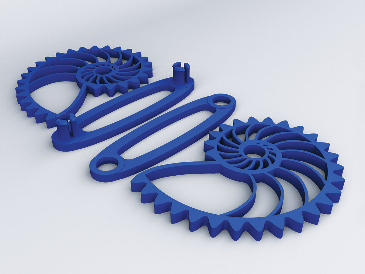 3D rendering of interlocking set of two blue 3D printed gears in the shape of nautilus shells.
