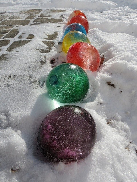 colored ice globes