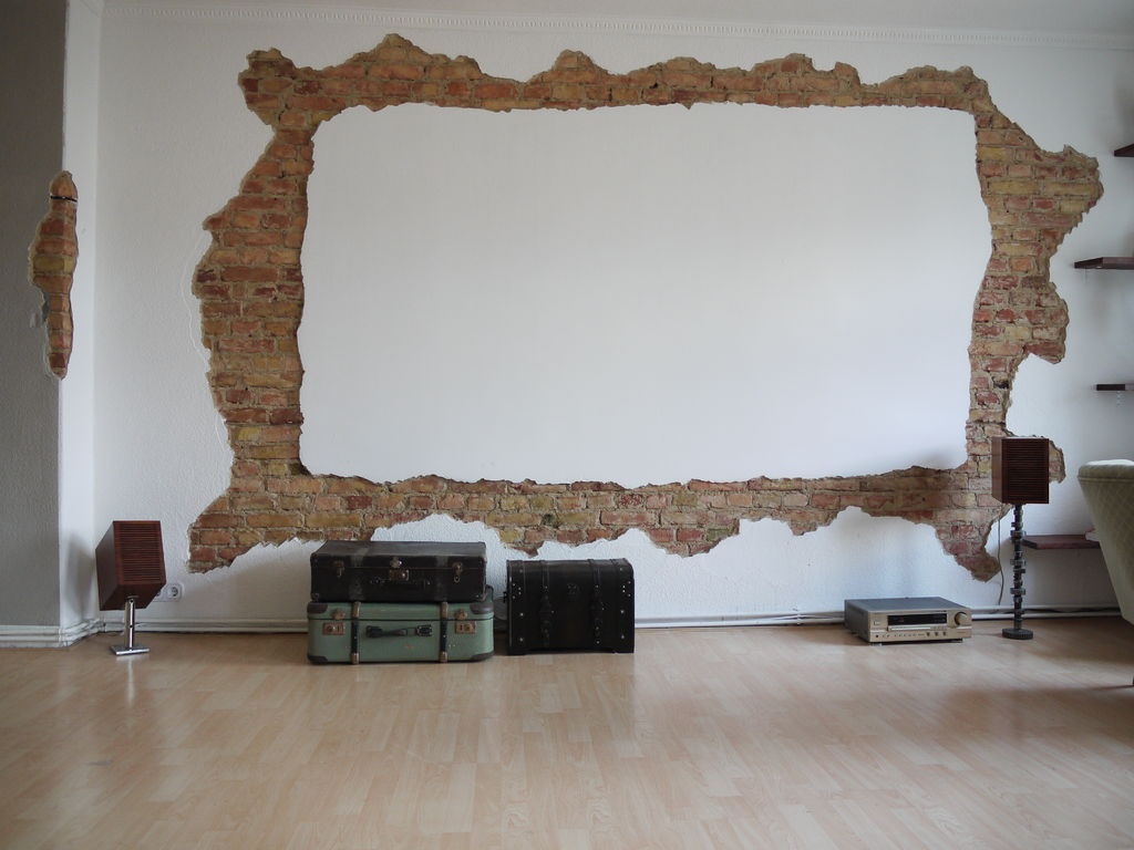 attic craft room ideas - Home Projection Screen with Exposed Brick Frame