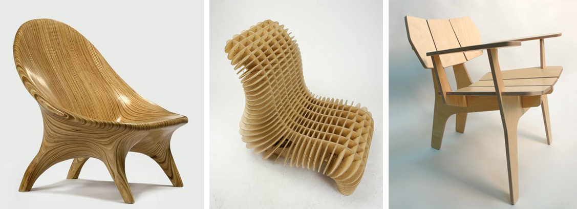 """Three approaches to designing a router-cut lounge chair. From left to right: """"stack of sections"""" (), """"grid of sections"""" (), and """"graphic profile"""" techniques ()."""