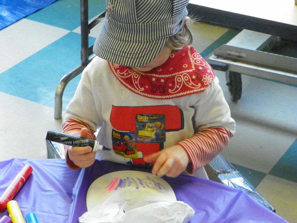 Making an Engineer's Cap at a local Children's Museum