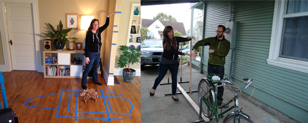 Left: The original Rory with tape blocking out the bigger version. Right: The bike & frame that big Rory will sit on.