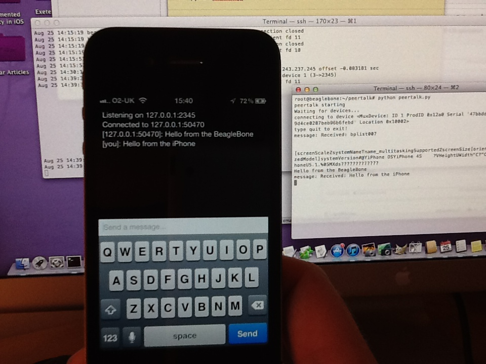 Bi-directional communication between the iPhone and the BeagleBone via USB