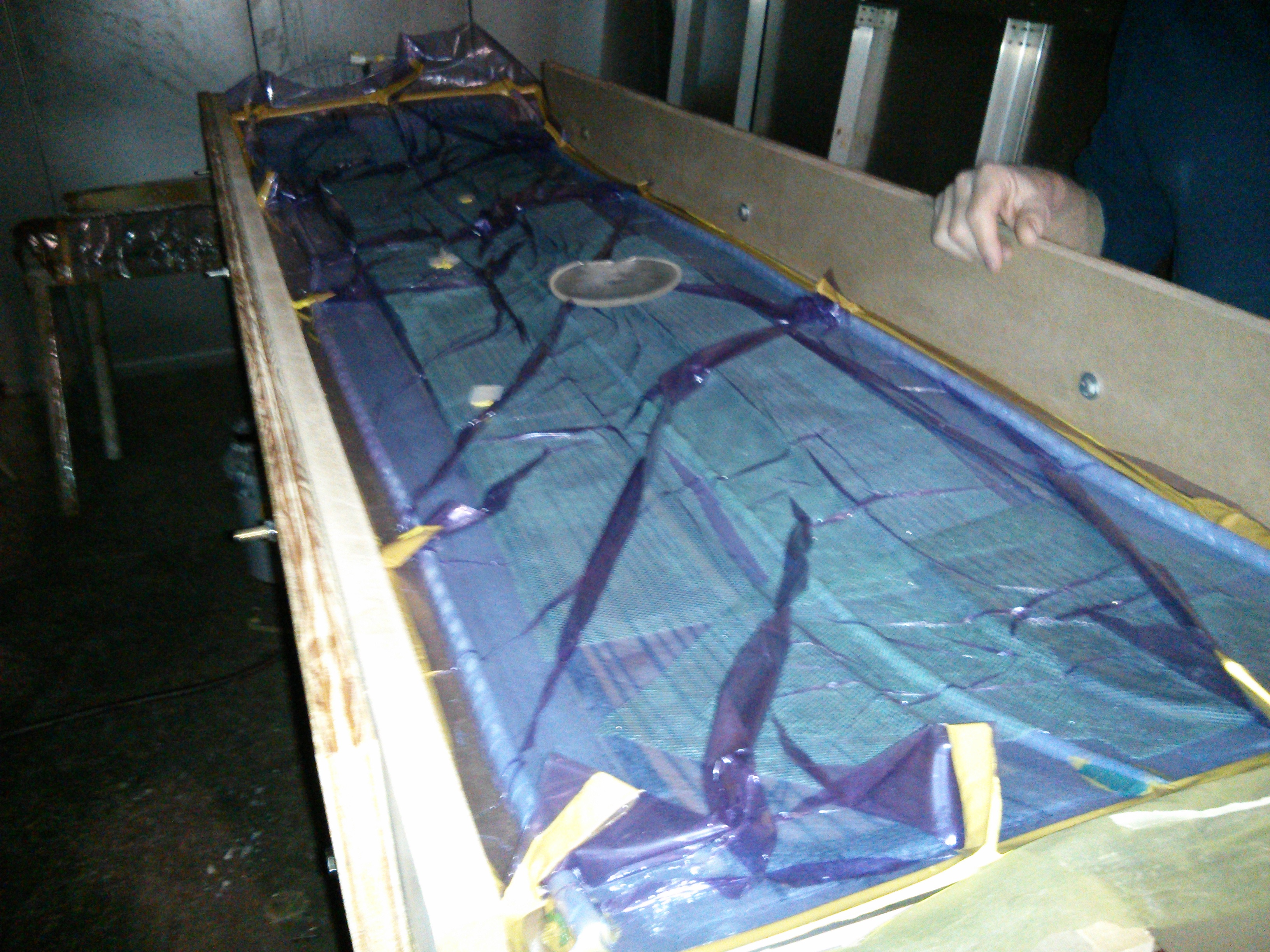 The IYRS composites program is where it becomes clear they aren't just a boatbuilding school: here's a set of skis drying in the walk-in kiln
