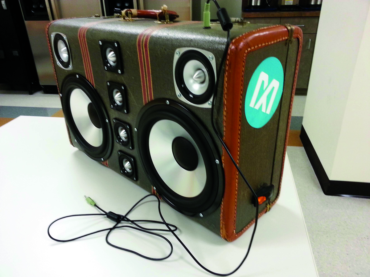 build an epic boombox out of that old suitcase make. Black Bedroom Furniture Sets. Home Design Ideas