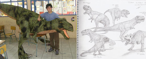 Gabriel with Anacleto (left) and Gabriel's dino illustrations (right)