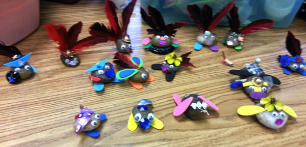 Carolyn Glaser's class followed up a geology unit with this art project, and then a writing project.
