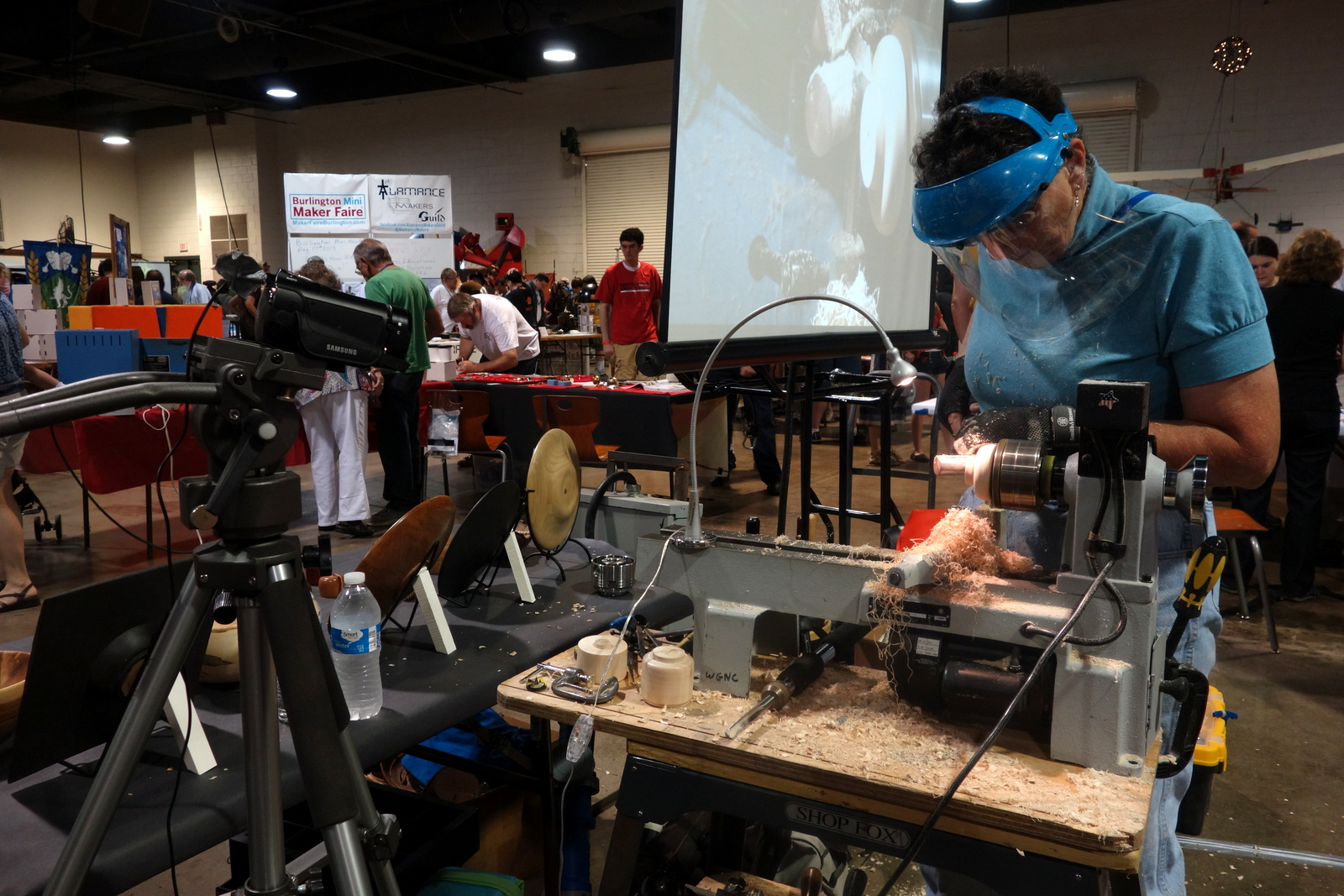 The Woodturners Guild were conducting live demos, using a camera and projector setup similar to how they teach classes.
