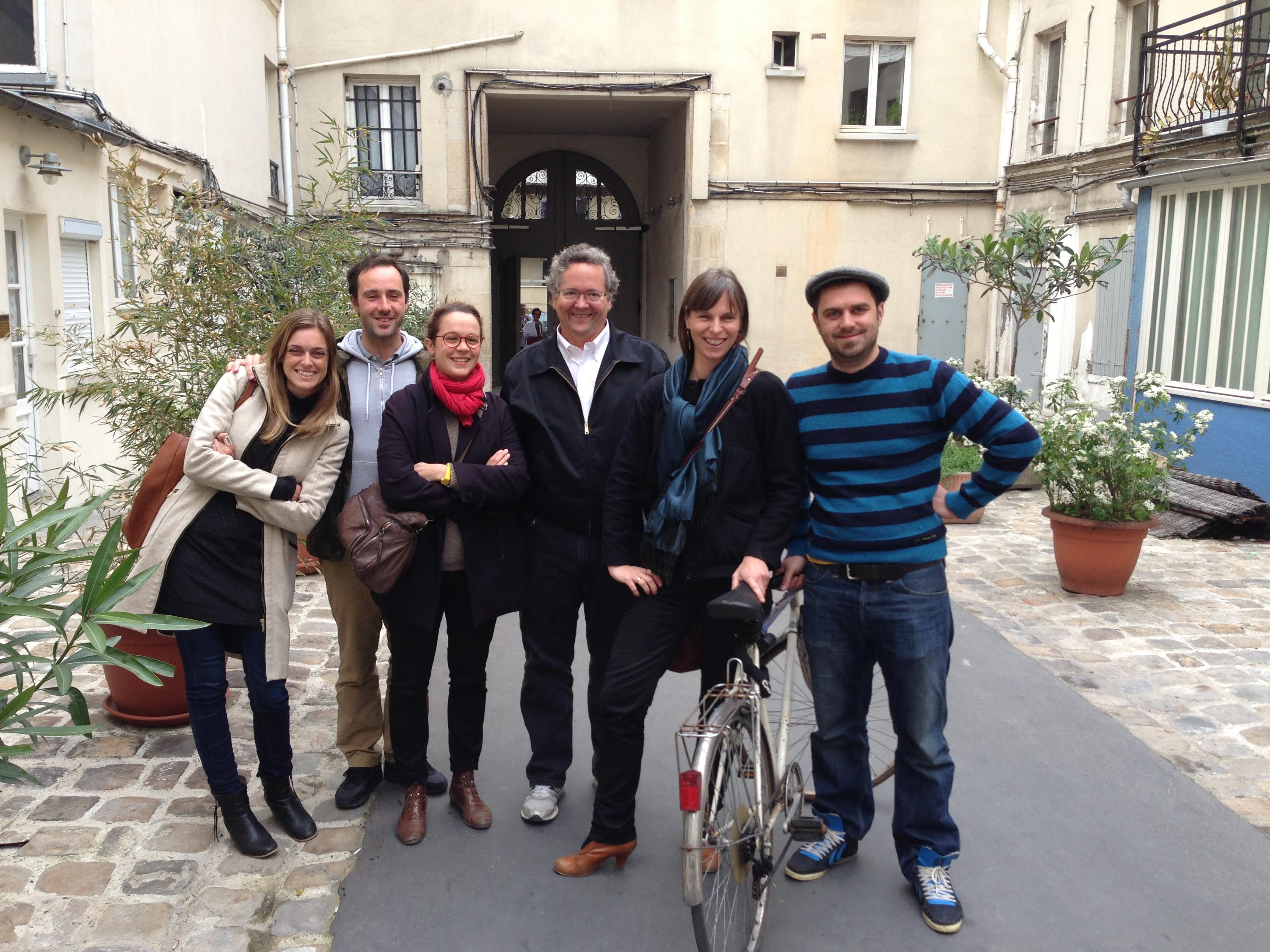 Héloïse, Fabrien, Camille, Dale, Véronique and Artur outside Le Petit Fab Lab in Paris