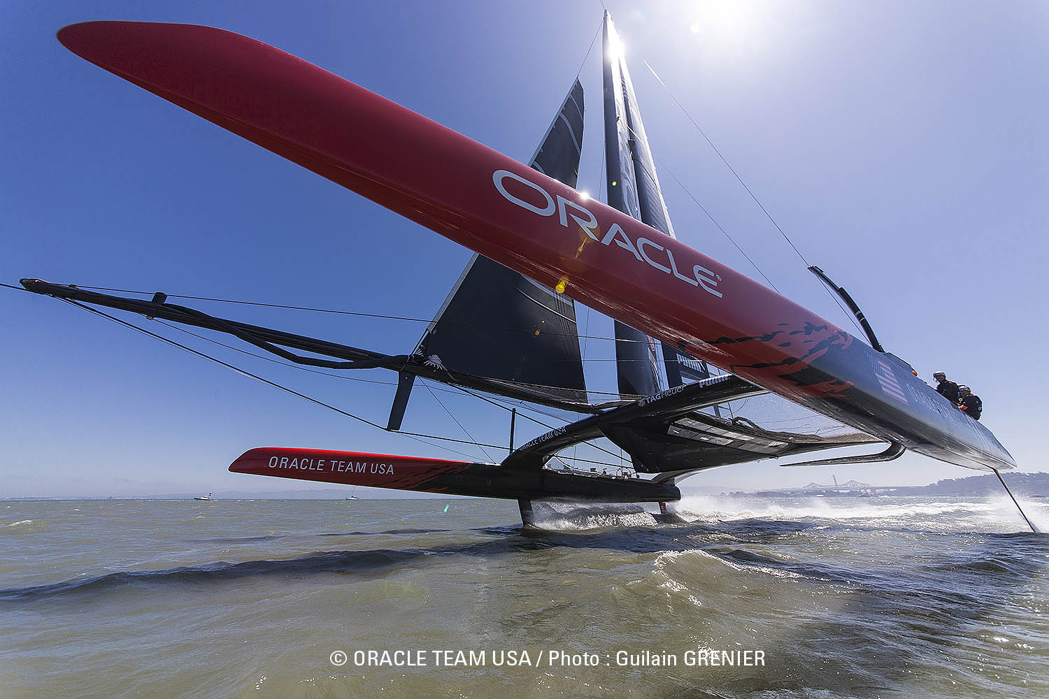 The Oracle Team USA yacht is a catamaran that rises up onto foils as it speeds through the water. Photo: Courtesy Oracle Team USA