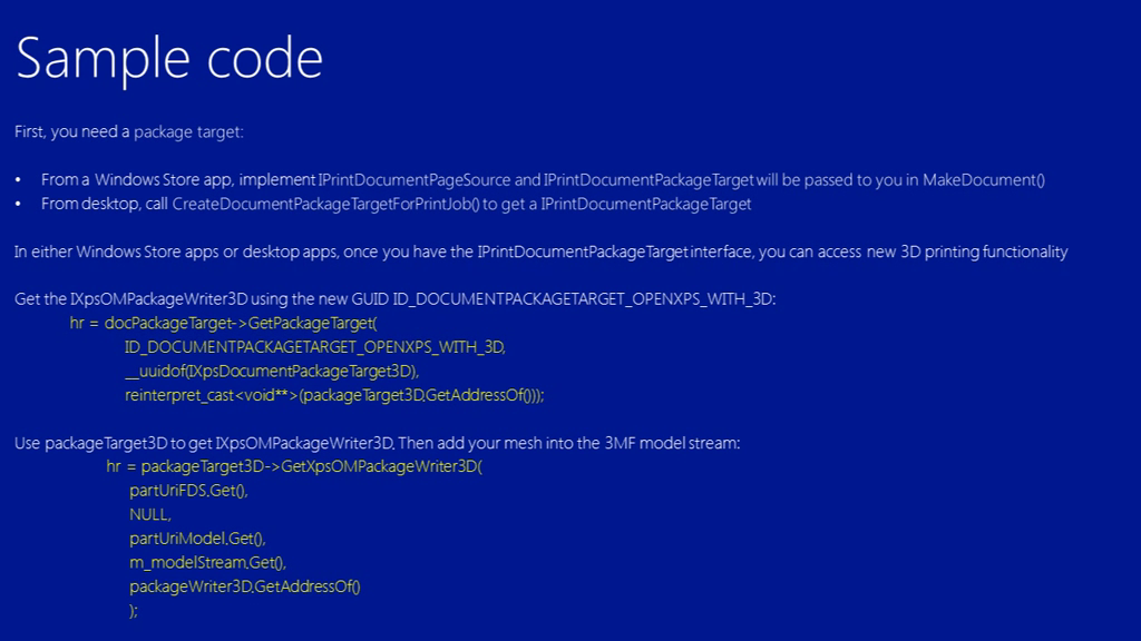 Microsoft sample code