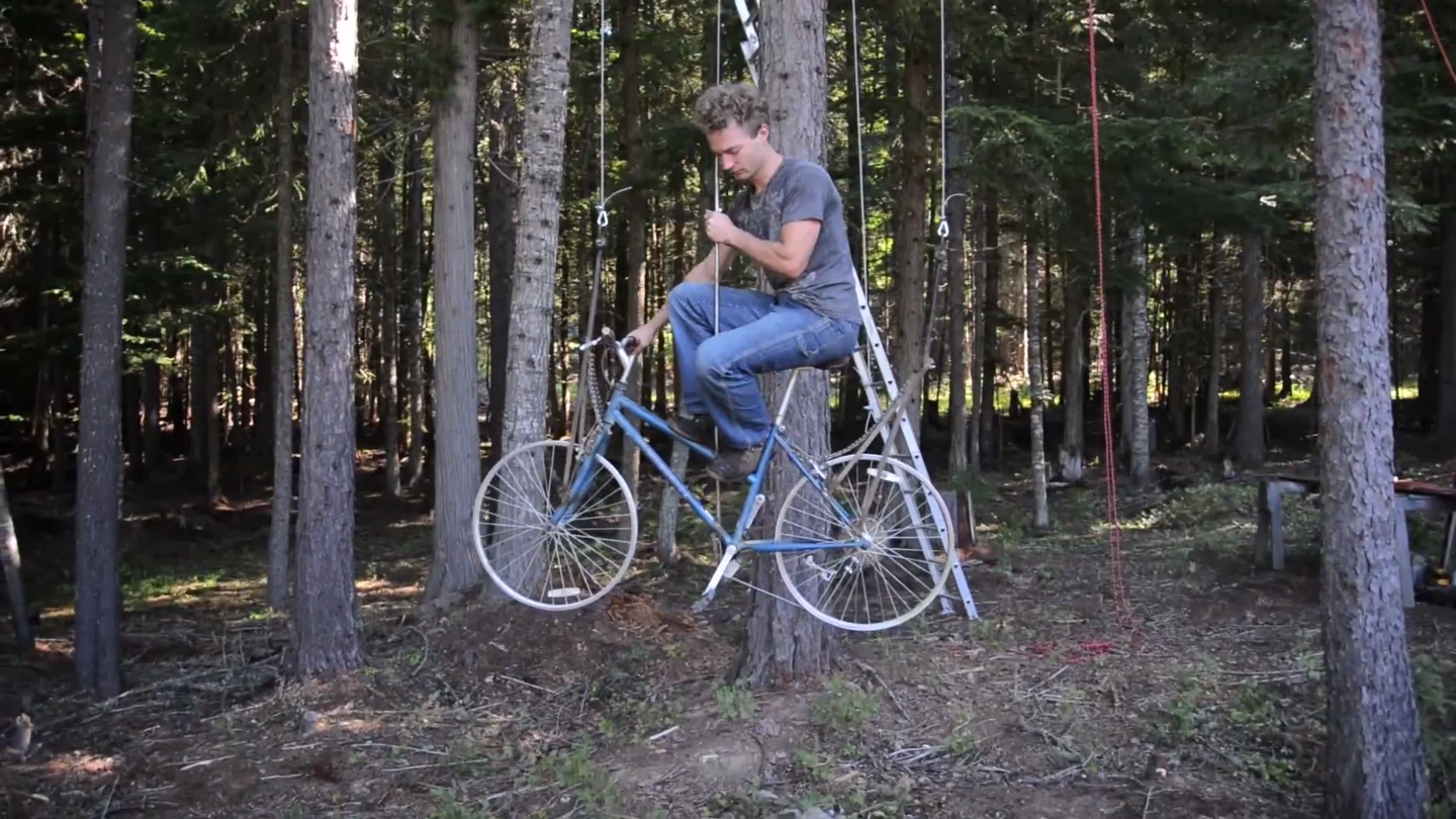 bicycle-powered treehouse elevator1