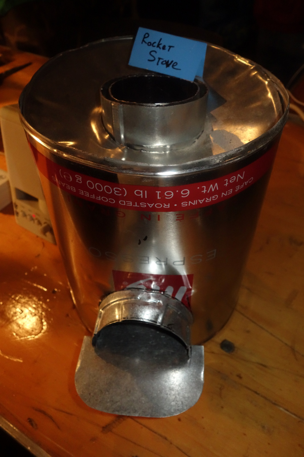 This 'Rocket Stove' made from a 3000g illy espresso can was presented by Pawtucket's hacker/makerspace Close Quarters.