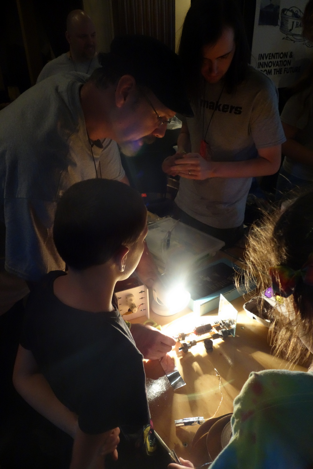 Chris Connors and company from Cape Cod Makers demonstrate their projects for curious kids.