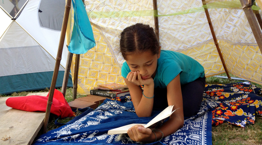 """Make a space for your read: """"In-tents""""ive reader Jet L. pitched a teepee in the backyard to get some time alone to dive into a stack of books."""