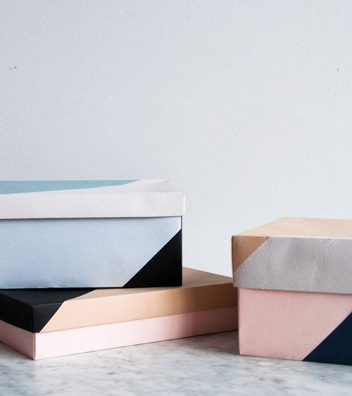 colorblocked boxes