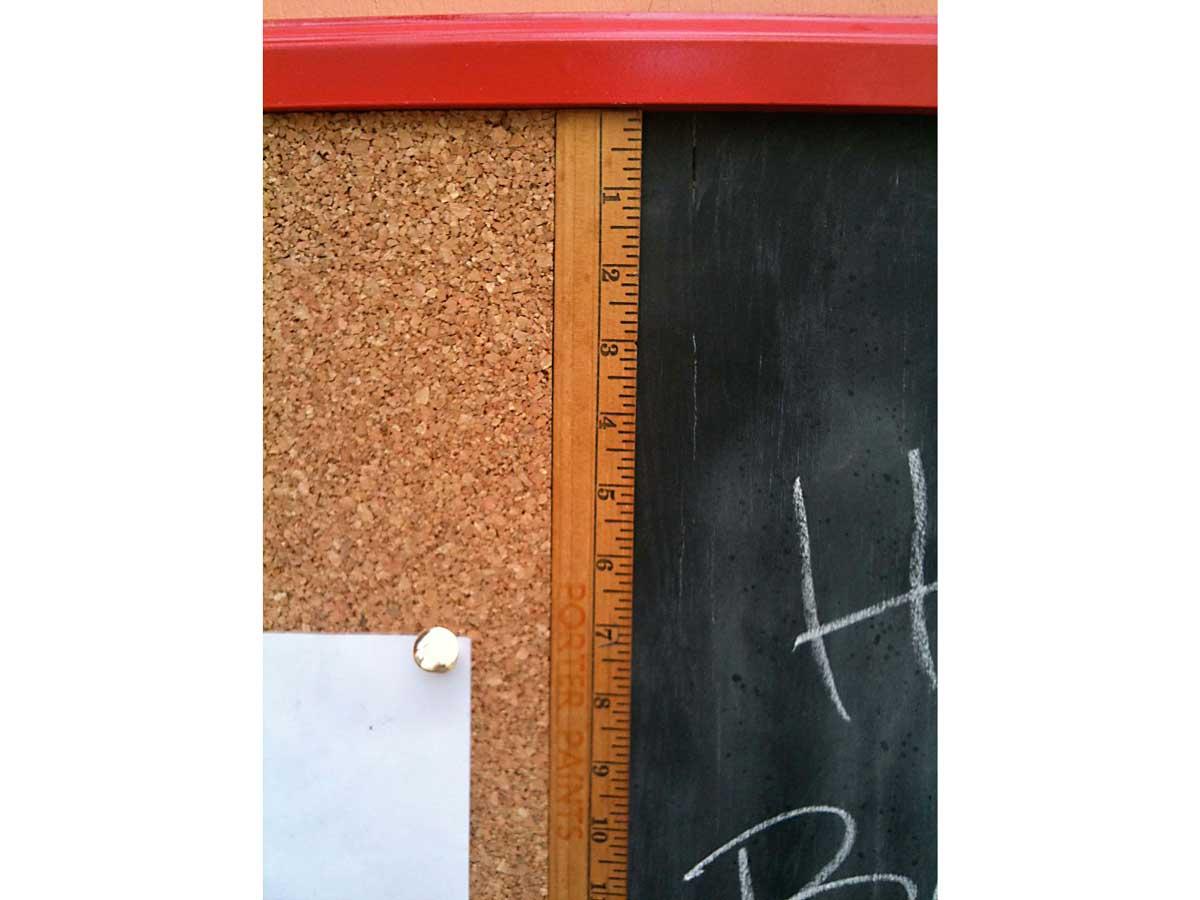 Close-up of yardstick detail.