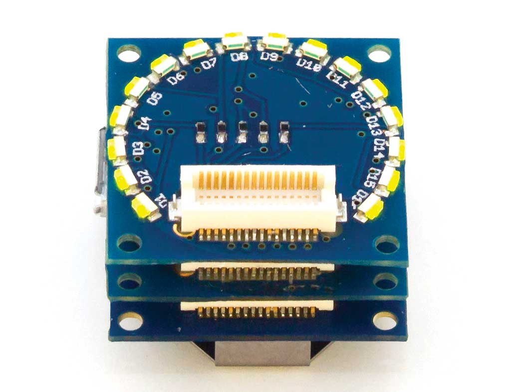 The Tinyduino with LED shield.