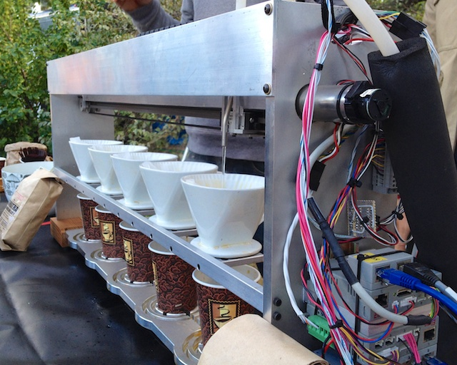 Automated production of six pour-over coffee stations.